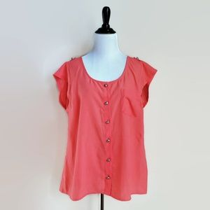 J Crew factory bright coral button down top